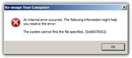система не может найти указанный файл 0x80070002