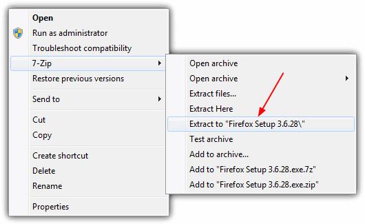 Извлечь в Firefox