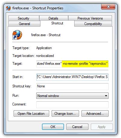 Профиль Firefox Noremote