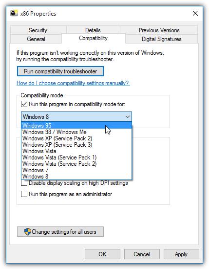 32-битный список режимов совместимости