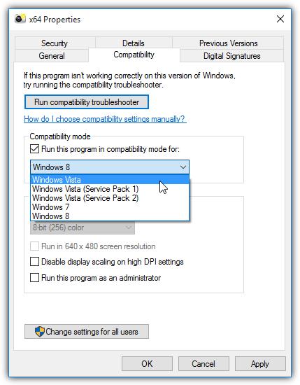 64-битный список режимов совместимости