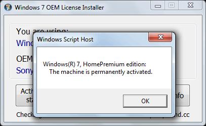 Установщик лицензии Windows 7 oem активирован