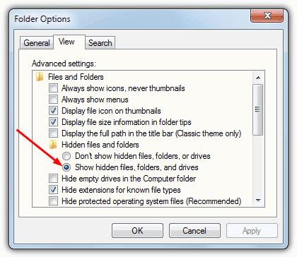 Показать скрытые файлы папок и дисков