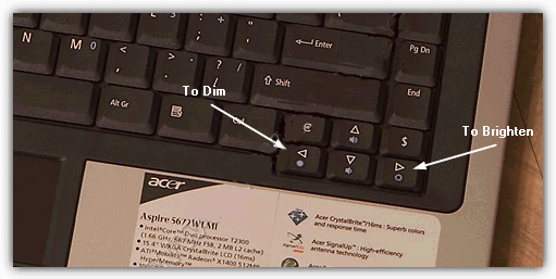 Сочетание клавиш регулировки яркости ЖК-экрана