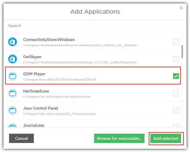добавить Gom Player, чтобы Adguard отфильтрованных приложений