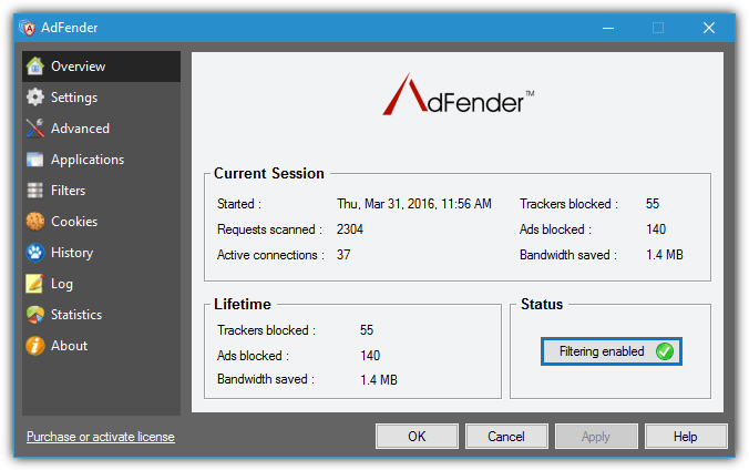 обзорный экран adfender