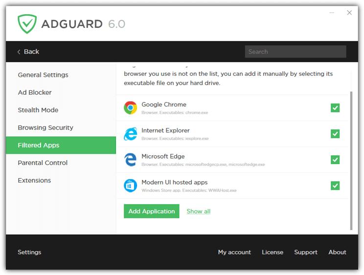 отфильтрованные приложения Adguard
