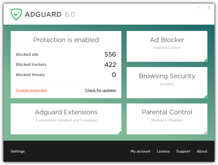 основной интерфейс Adguard