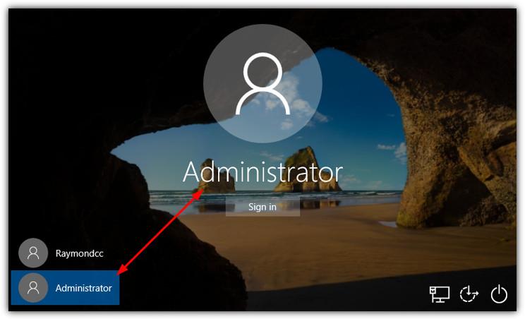 учетная запись администратора на экране входа