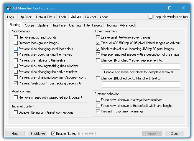 параметры конфигурации admuncher