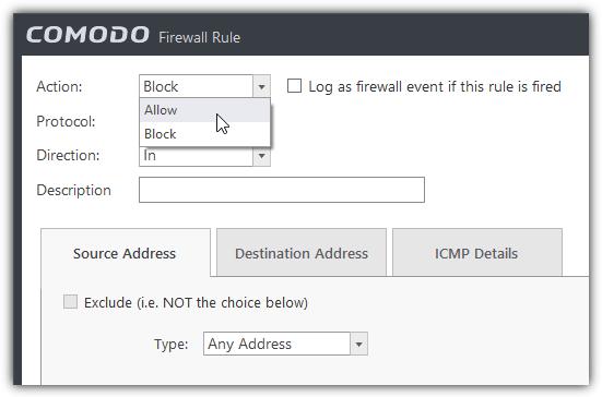 разрешить эхо-запрос icmp