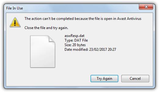 невозможно удалить файл aswresp.dat