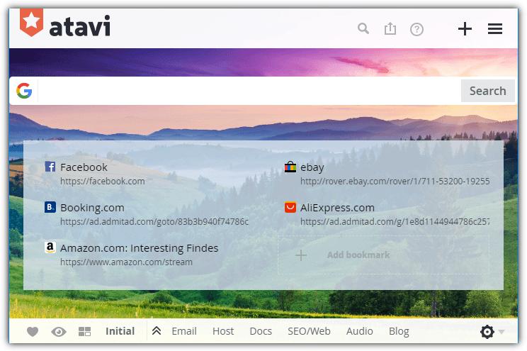 страница закладок atavi