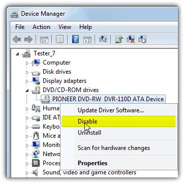 Отключить дисководы DVD / CD-ROM
