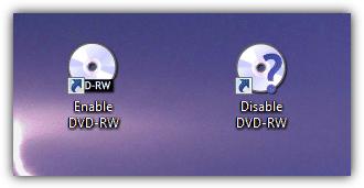 Ярлыки для включения и отключения DVD