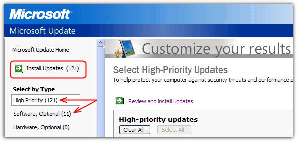 Центр обновления Windows с высоким приоритетом