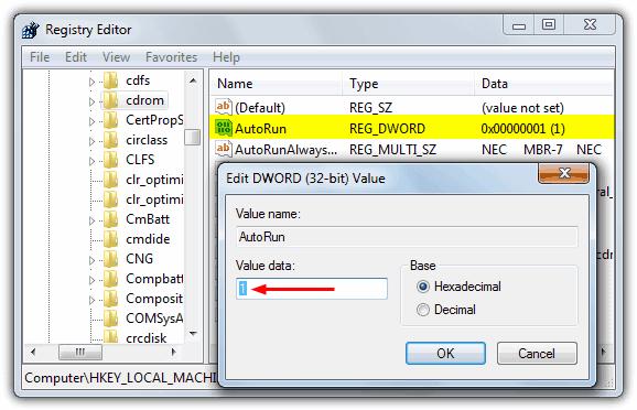 """autoplayconfig """"src ="""" https://img.raymond.cc/blog/wp-content/uploads/2013/02/autoplayconfig.png """"/></p> <p>Программа портативна, бесплатна и проста в использовании. Нажмите кнопку вверху, чтобы показать текущее состояние настроек автозапуска, затем используйте «Включить» или «Отключить», чтобы установить желаемый выбор. Работает на всех операционных системах.</p> <p><strong>Скачать AutoPlayConfig</strong></p> <h2>Ручной путь</h2> <p>Чтобы вручную и постоянно включать или отключать автоматически работающие CD-ROM, необходимо отредактировать реестр, это работает в XP, Vista, 7 и 8:</p> <p>1. Нажмите Пуск -> Выполнить (или нажмите Winkey + R), введите regedit в поле «Выполнить» и нажмите Enter.</p> <p>2. Найдите и щелкните следующий раздел реестра:</p> <p>HKEY_LOCAL_MACHINE  System  CurrentControlSet  Services  CDRom</p> <p>3. Чтобы отключить автоматический запуск CD-ROM, измените значение автозапуска на 0 (ноль). Чтобы включить автоматический запуск CD-ROM, измените значение автозапуска на 1.</p> <p><img width="""