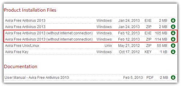 Avira Free Antivirus 2013 без подключения к интернету