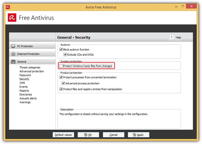 Avira защищает файлы хостов Windows от изменений