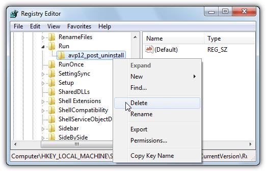 avp post удалить ключ реестра