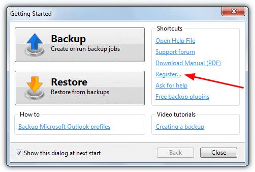 Начальный экран backup4all