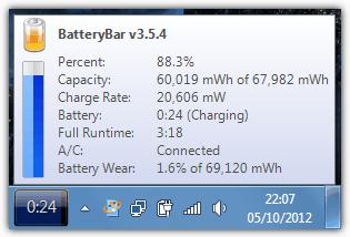 Состояние батареи ноутбука в BatteryBar