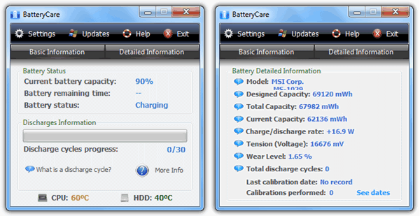BatteryCare Состояние батареи ноутбука