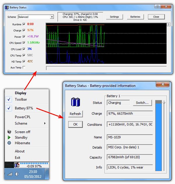 Монитор состояния батареи ноутбука