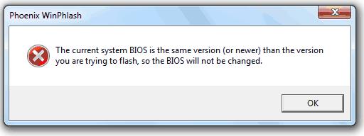 Текущий системный BIOS такой же версии
