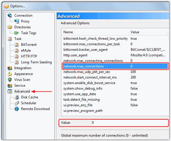 BitComet network.max_connections