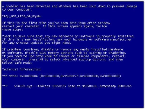 Windows Синий Экран Смерти BSOD