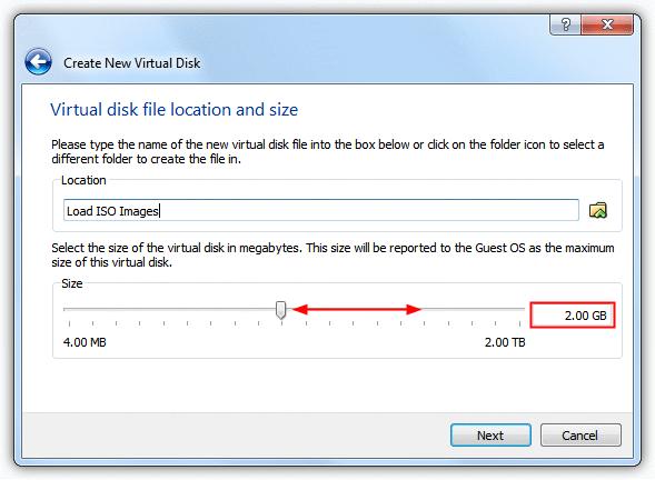 Расположение и размер виртуального диска
