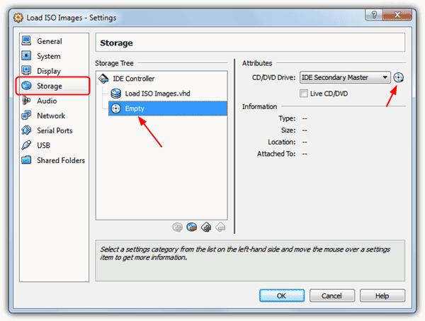 Загрузить ISO образы в VirtualBox