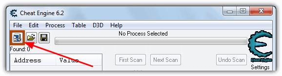 Кнопка Cheat Engine Open Process