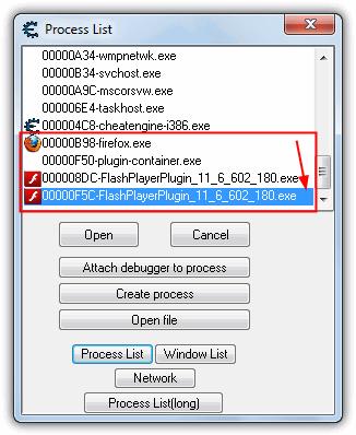 Список процессов Firefox FlashPlayerPlugin