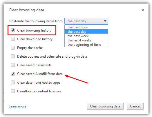 Chrome очистить историю просмотров
