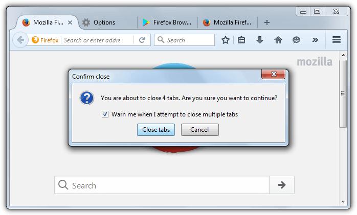 закрыть вкладки предупреждение Firefox