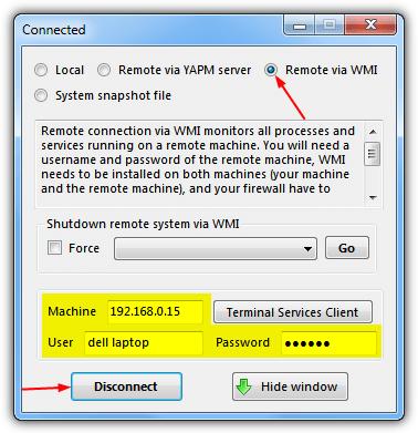подключите YAPM используя WMI