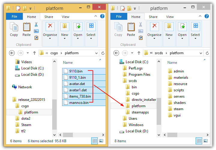 копировать файлы платформы