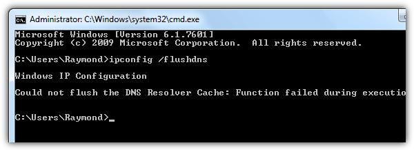 не удалось очистить кэш распознавателя DNS
