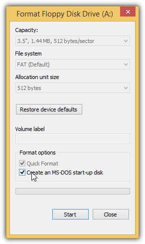 создать загрузочный диск MS DOS