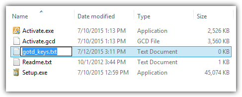 создать ключ текстового файла GOTD