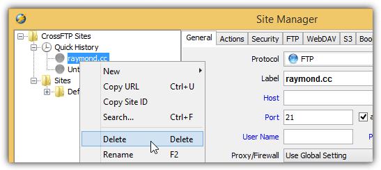 CrossFTP удалить быструю историю