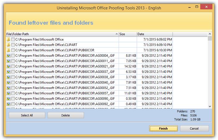 удалить оставшиеся файлы папки