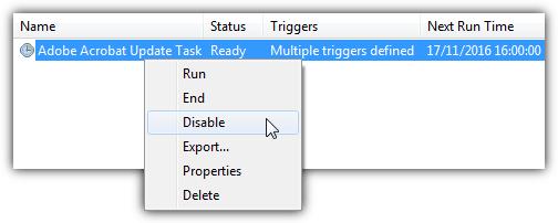 отключить задачу Adobe Reader