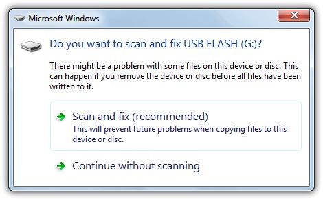 Хотите отсканировать и исправить съемный диск