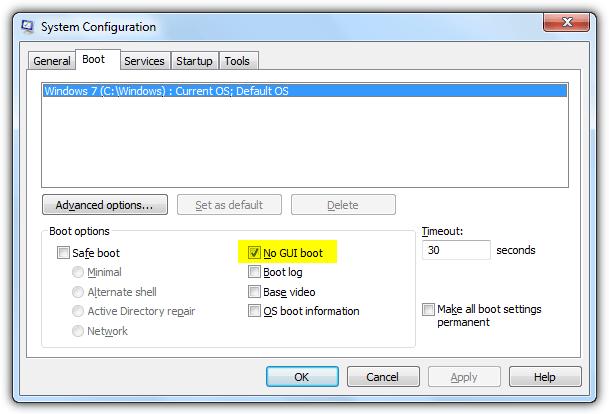 отключить заставку Windows