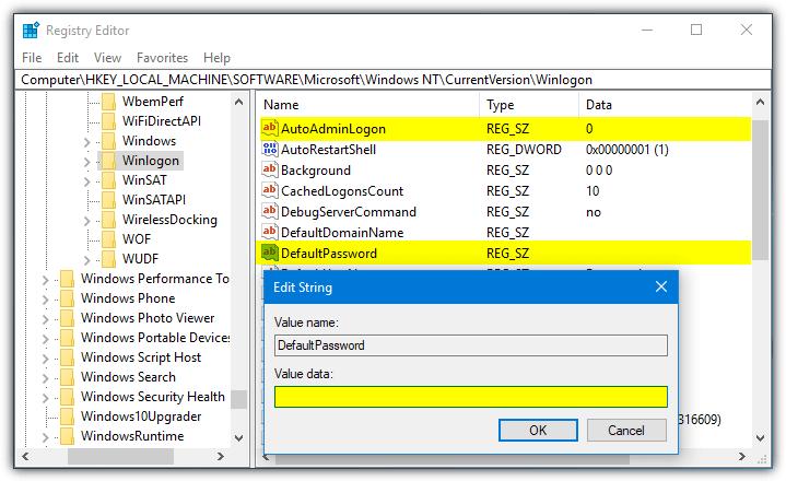 восстановить параметры реестра автоматического входа
