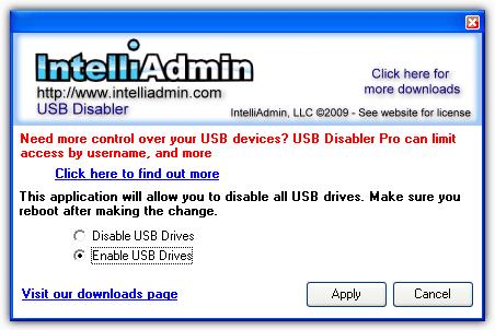 IntelliAdmin USB Drive Отключение