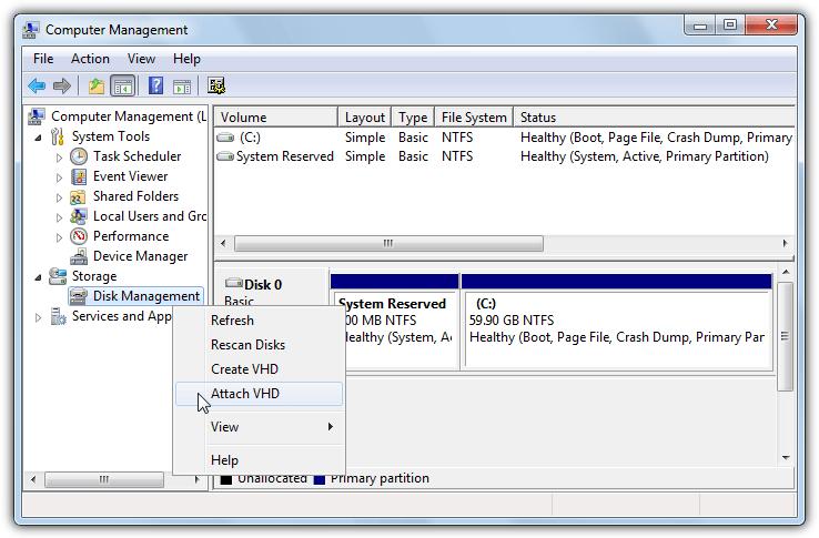 управление дисками прикрепить VHD